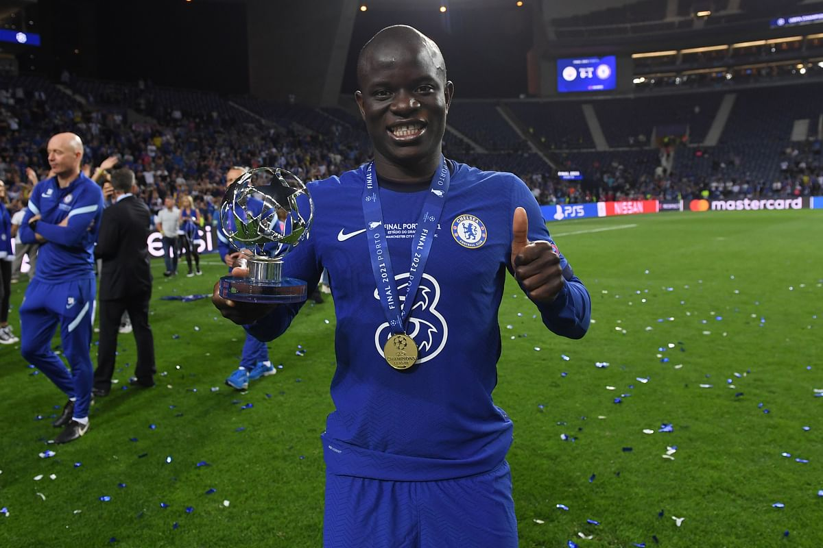 Kante after winning the player of the match award in the Champions League final.