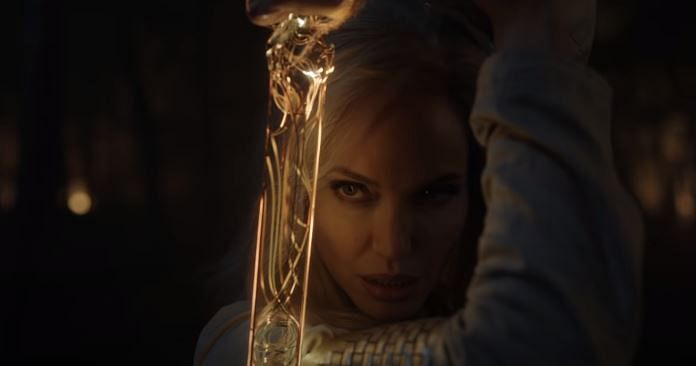 """<div class=""""paragraphs""""><p>Angelina Jolie plays the warrior Thena in Marvel's 'Eternals'</p></div>"""