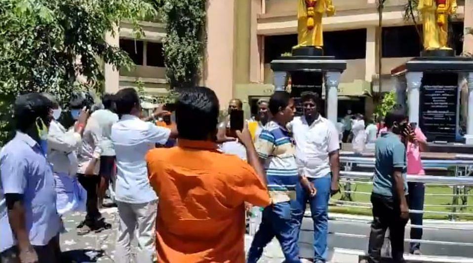 Celebrations outside DMK headquarters in Arivalayam,