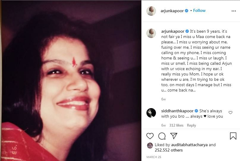 Still Lost Without You: Arjun Kapoor in Tribute Post to Mom Mona