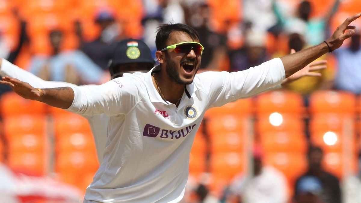 Axar Patel appeals during Day 3 of the 4th Test against England.