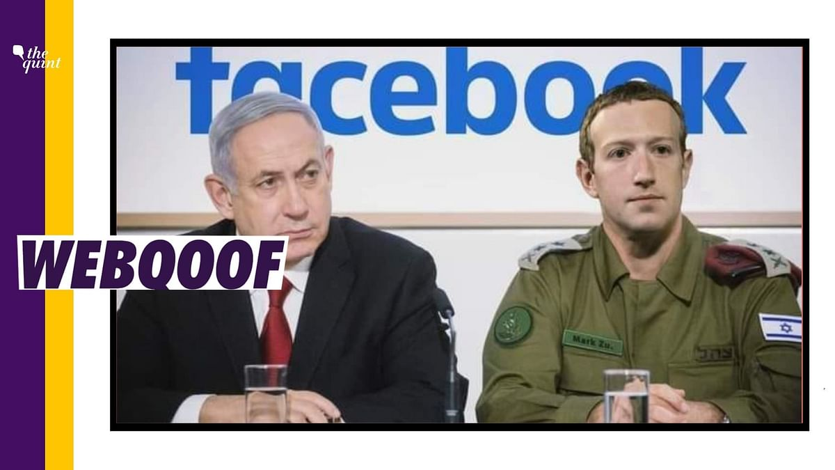 The photo is altered and Zuckerberg's face is morphed on top of IDF chief of Staff Aviv Kohavi' face.