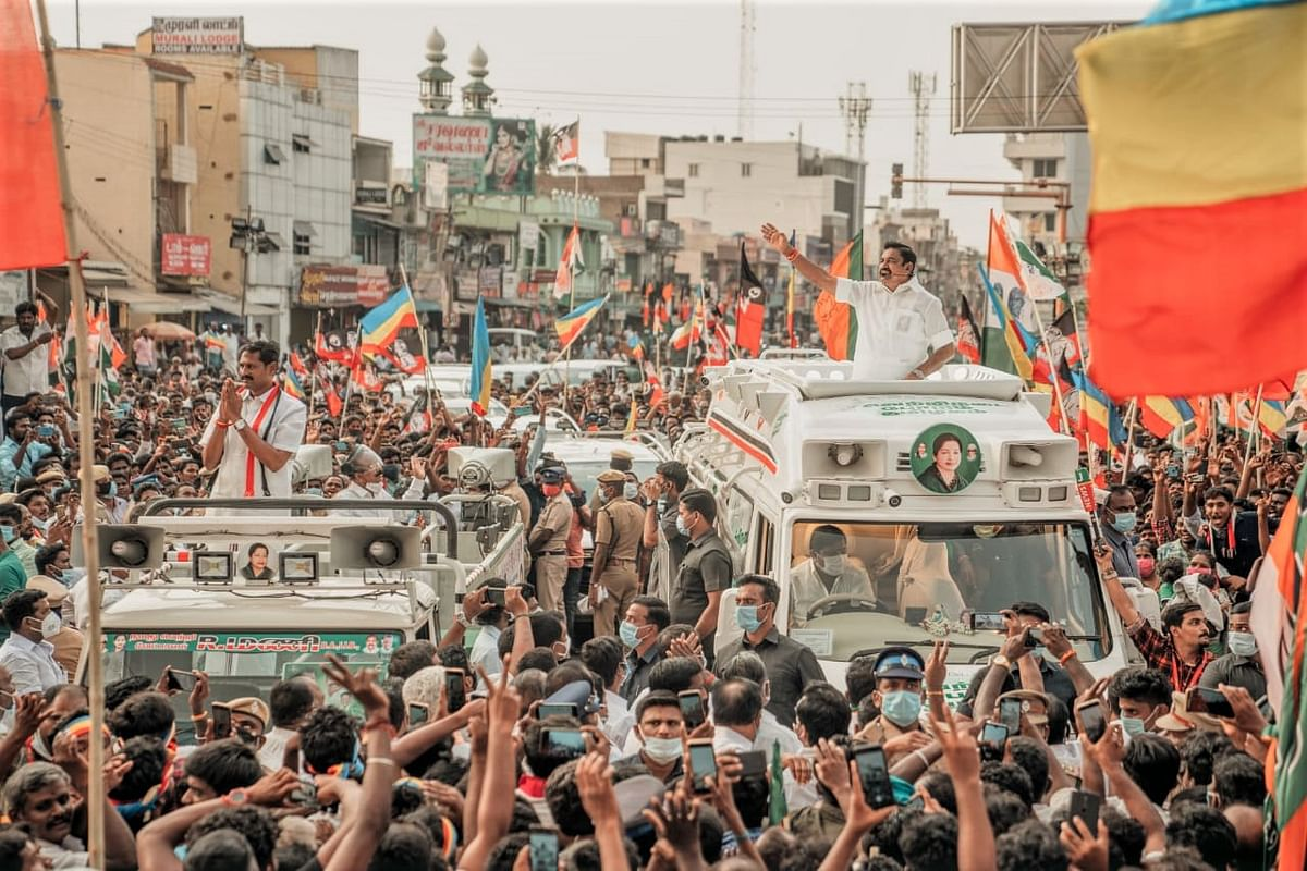 Edappadi K Palaniswamy campaigning during elections 2021.