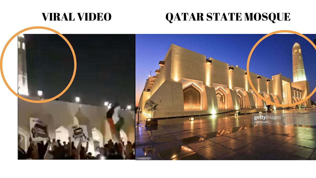 Left: Viral video. Right: Qatar state mosque.