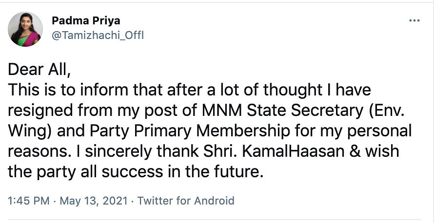 Screenshot of Padma Priya's tweet.