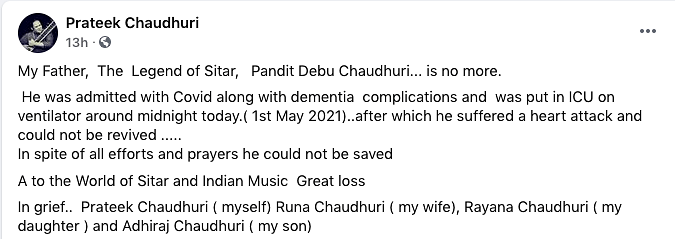 Sitar Legend Pt Devabrata Chaudhuri Dies of COVID Complications