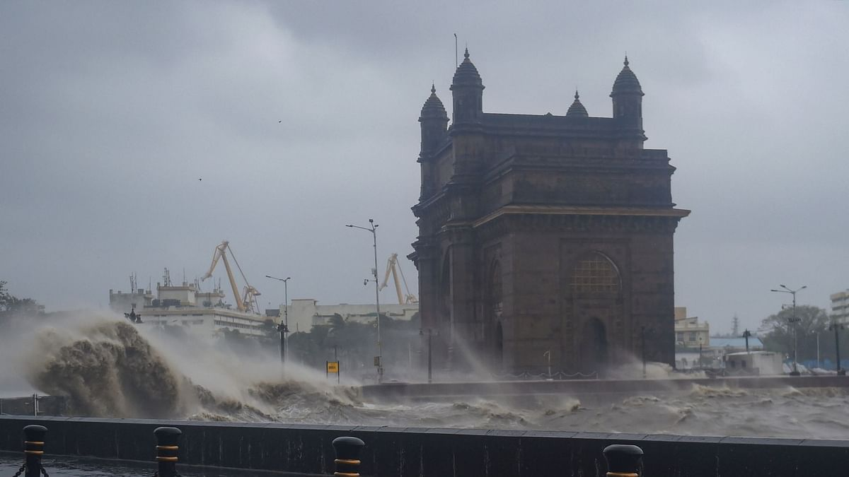 Mumbai: Strong sea waves near the Gateway of India as Cyclone Tauktae approaches the coast on Monday.