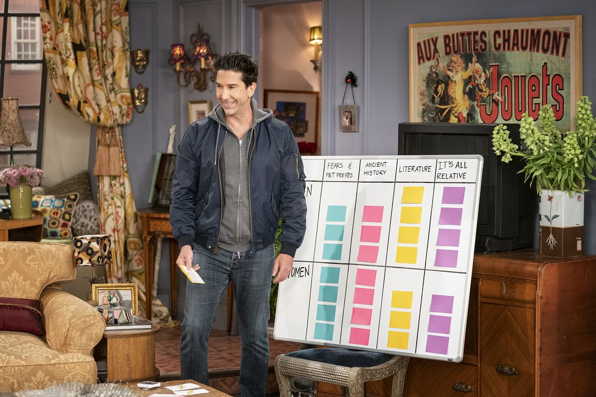 """<div class=""""paragraphs""""><p>David Schwimmer conducting the 'Friends Quiz'</p></div>"""