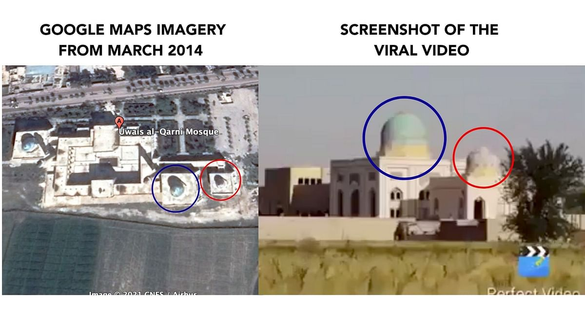 """<div class=""""paragraphs""""><p>Minarets from old Google Earth imagery (left) and the ones in the viral video (right).</p></div>"""