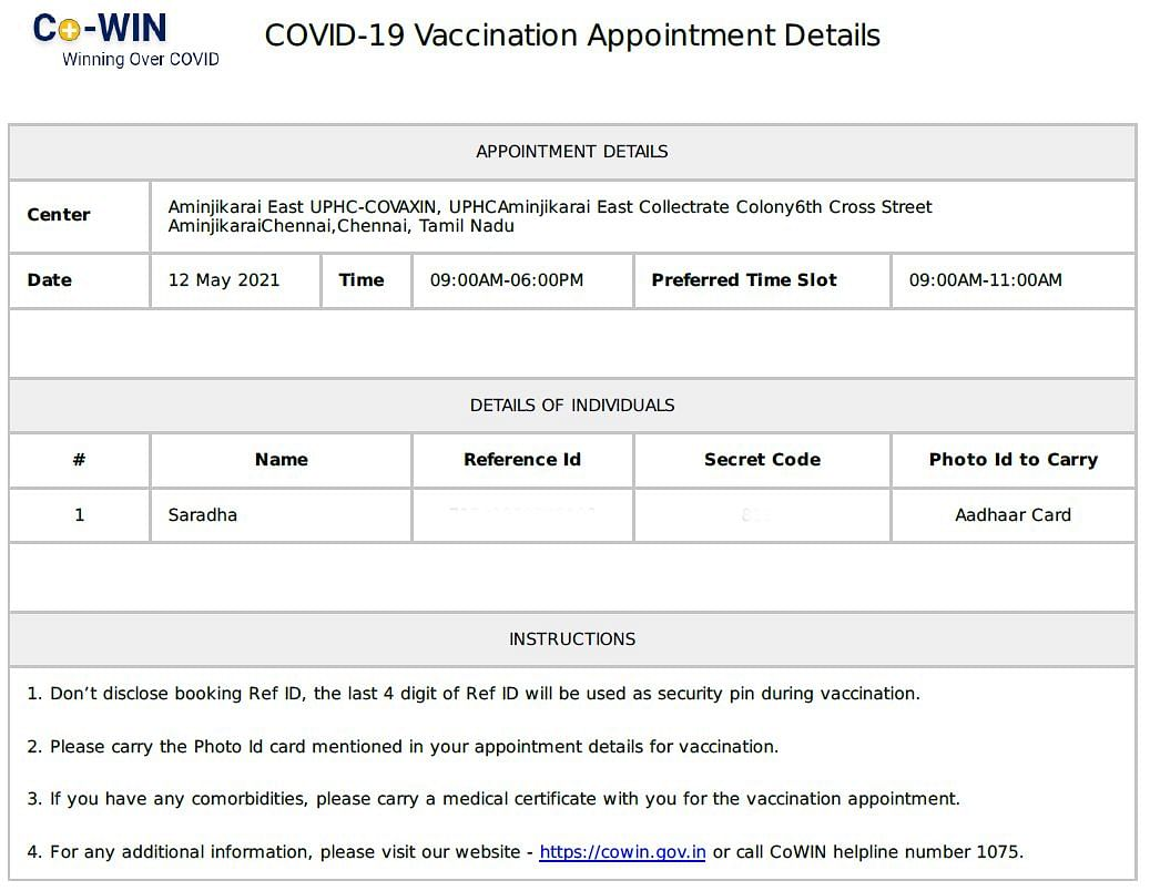 Appointment slip of Vaccine registration on 12 May