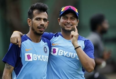 """<div class=""""paragraphs""""><p>Kuldeep Yadav and Yuzvendra Chahal during a training session for India.</p></div>"""