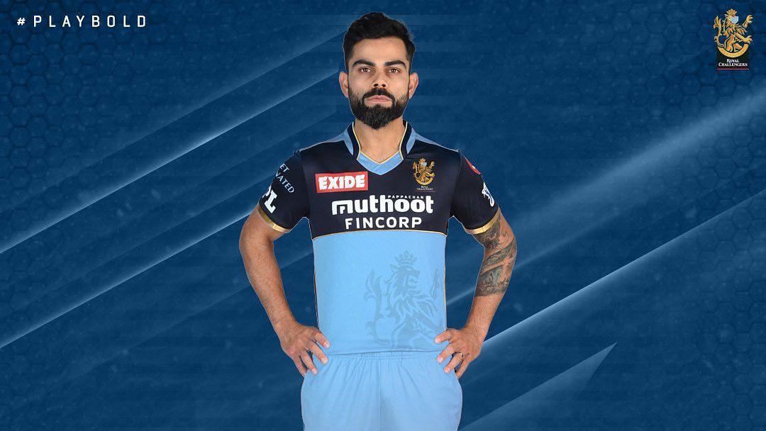 RCB captain Virat Kohli in the special blue jersey.