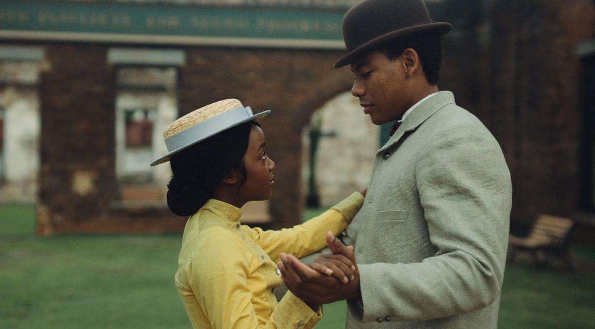 Cora and Caesar in <i>The Underground Railroad.</i>
