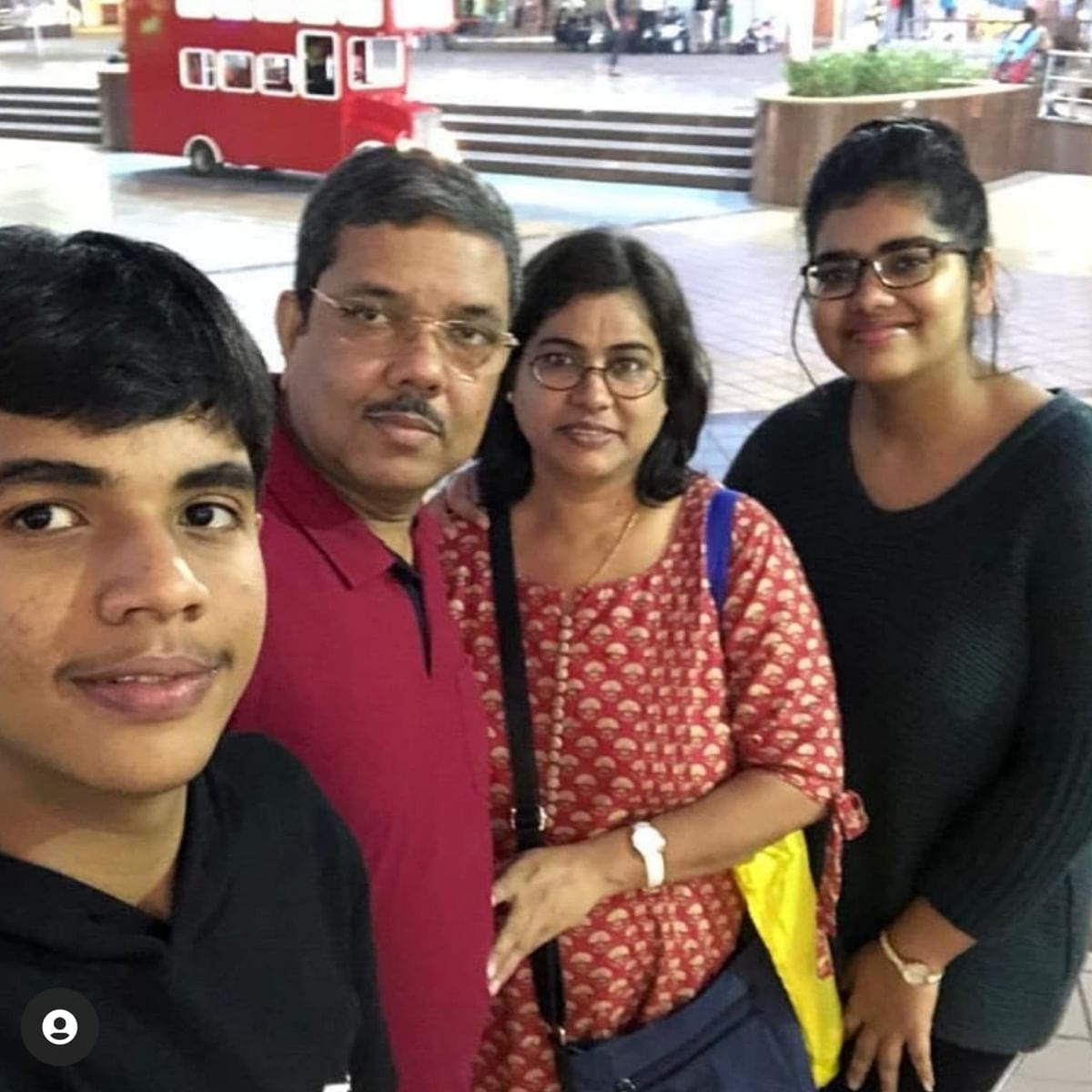 """<div class=""""paragraphs""""><p>Captain Prasad with his wife, 15-year-old son and daughter Sumedha.</p></div>"""