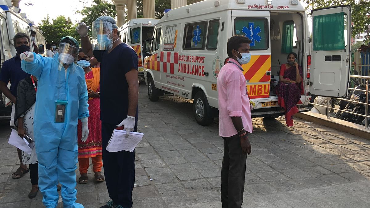 In each of the ambulances there are at least two attenders from the 108 emergency team who assist the patient and caretaker.