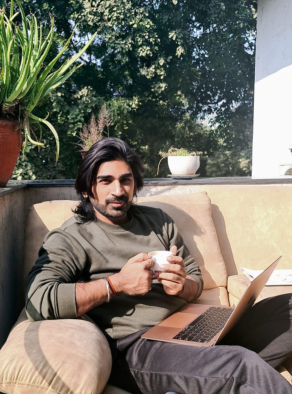 """<div class=""""paragraphs""""><p>Writer Sharad Tripathi working from home.</p></div>"""