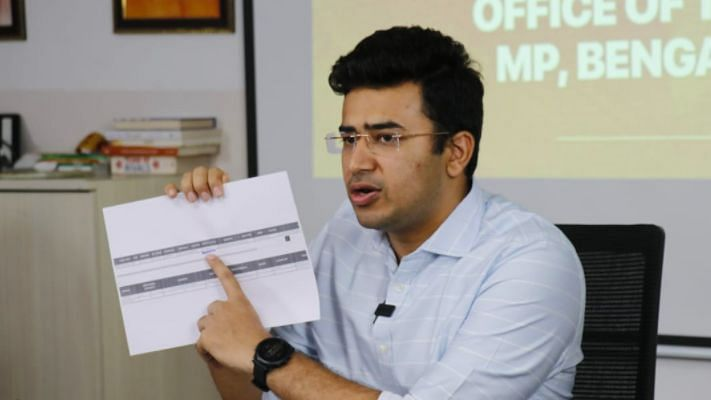 """Bengaluru South BJP MP Tejasvi Surya, on Monday, 10 May, claimed he had """"nothing to apologise for"""" and, in a video that has since gone viral, appeared uncomfortable with reporters' questions on why he singled out 16 Muslim individuals among the 200 plus BBMP staffers."""