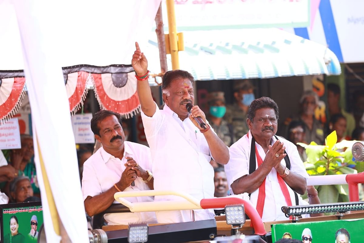O Panneerselvam campaigning for TN elections 2021.
