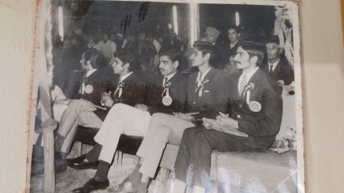 Inderjit (extreme right) and Mahavir sitting right next to him during the graduation ceremony at HAU. Mahavir won a gold medal during his bachelors and masters degree.