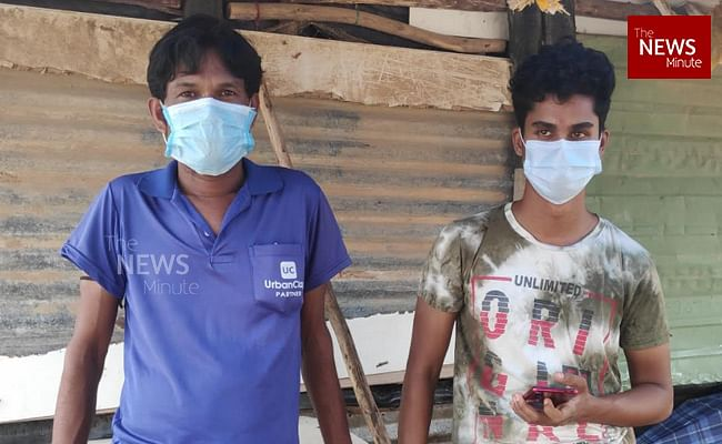 """<div class=""""paragraphs""""><p>Sukhchand (right) at the migrant settlement in Thubarahalli</p></div>"""