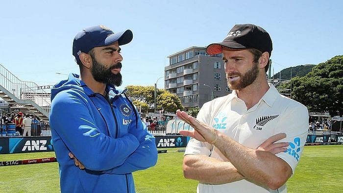 Skippers Virat Kohli and Kane Williamson having a chat. Image: AP