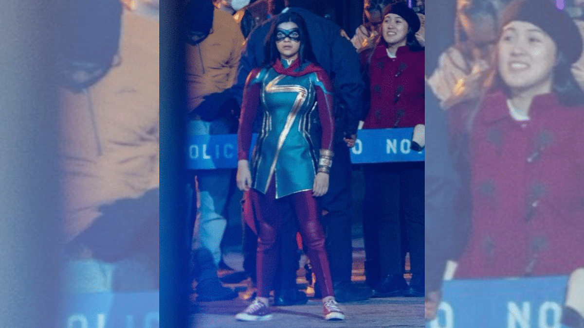 """<div class=""""paragraphs""""><p>Iman Vellani's look in and as 'Ms Marvel'</p></div>"""
