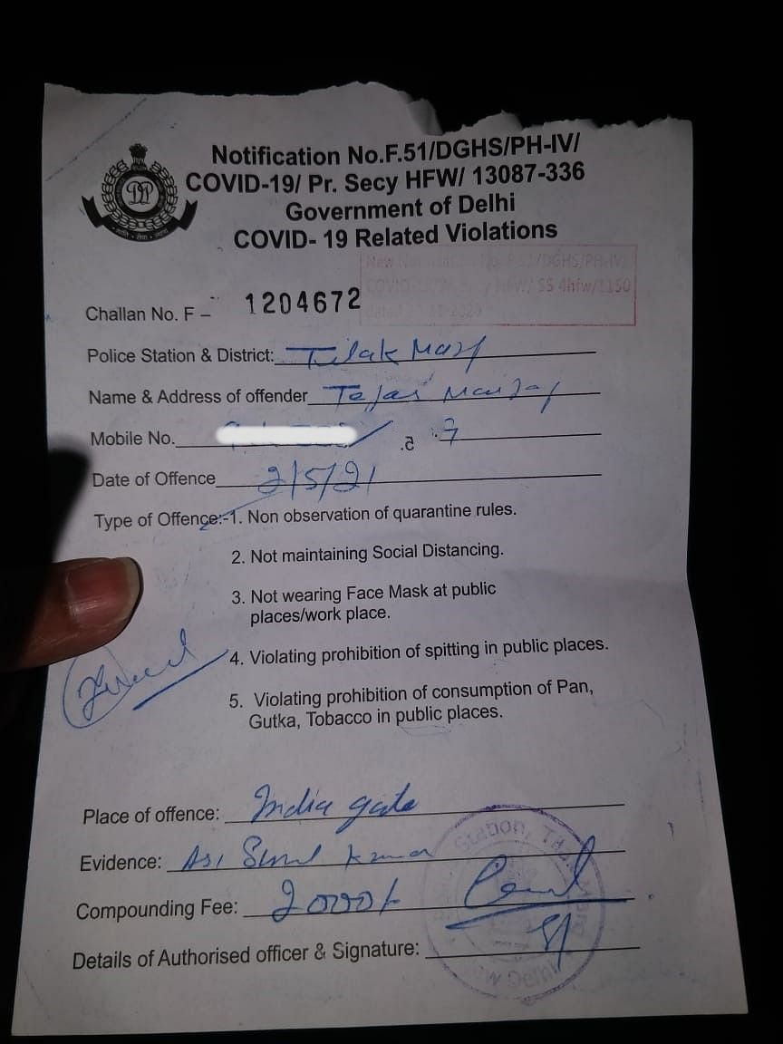Copy of challan issued by Delhi Police.