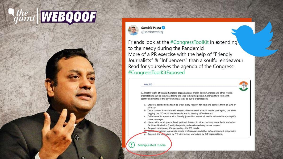 Twitter Labels Sambit Patra's 'Toolkit' Tweet as 'Manipulated'