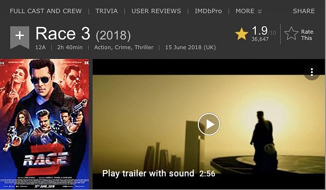 <i>Race 3's </i>IMDB rating.