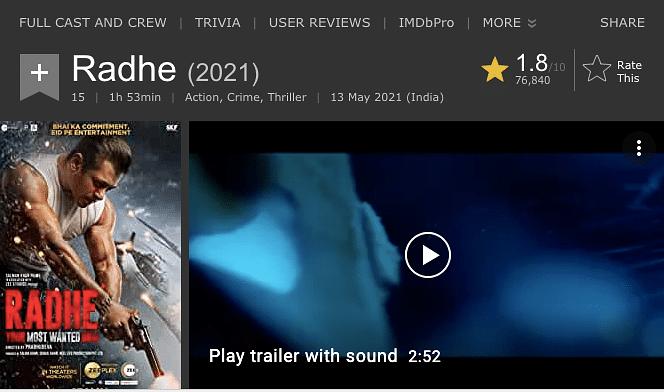 <i>Radhe's </i>IMDB rating.