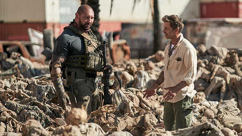 Dave Bautista and Zack Snyder on the sets of <i>Army of the Dead.</i>