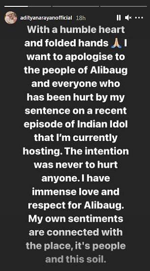 Aditya Narayan Apologises for Alibaug Comment on Indian Idol 12