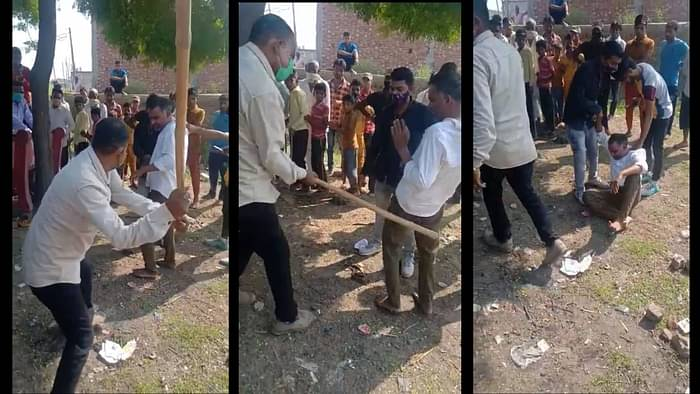 In a video of the incident which has gone viral, one can see Shakir, who is from Nar Kheda village in Moradabad, being repeatedly thrashed.