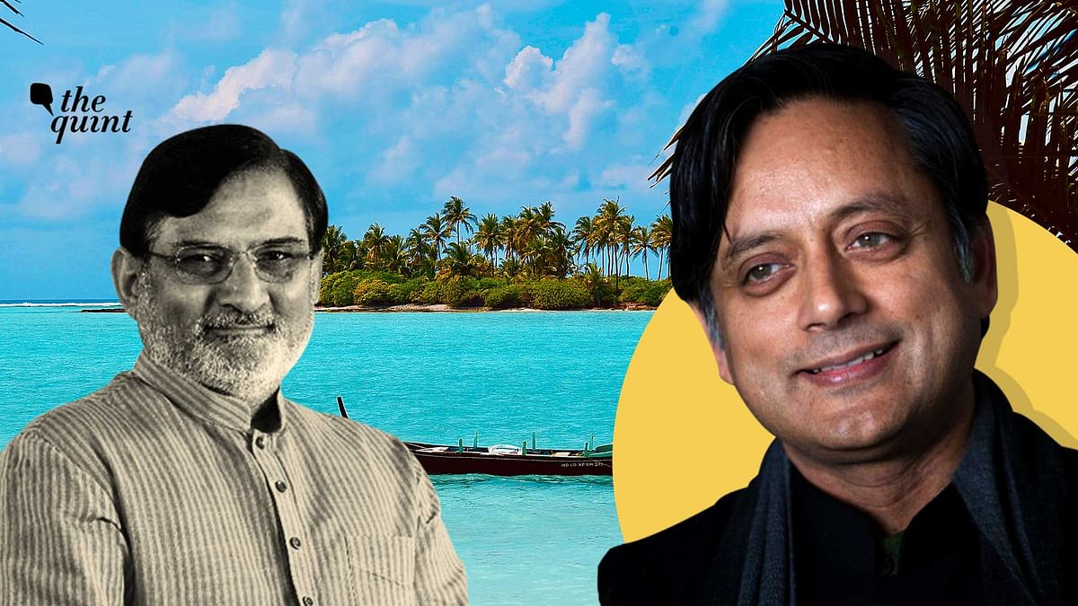 Image of Dr Shashi Tharoor (R) and Lakshadweep Administrator Praful Patel (L), against a background of an island in the Lakshadweep used for representation.