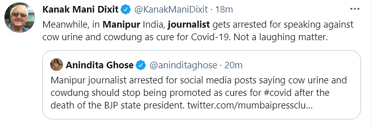 Imphal: Journo's Arrest for Speaking About Cow Dung Sparks Outrage
