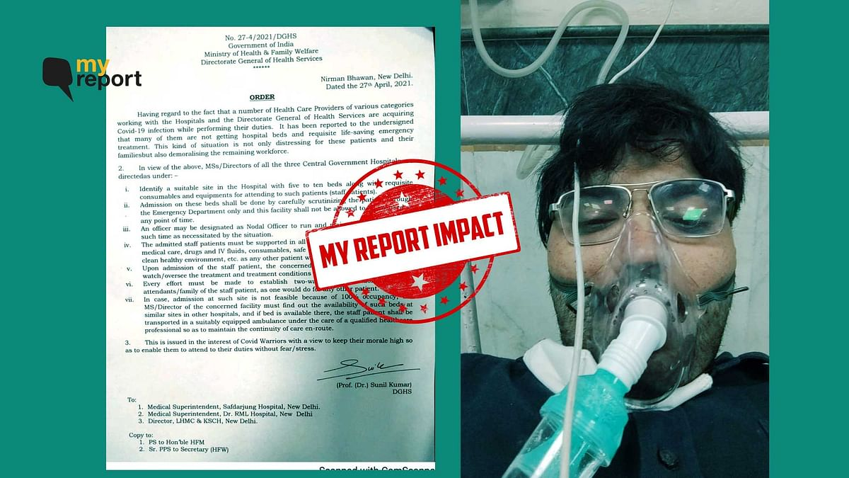 My Report Impact: Healthcare Staff to Get Hospital Bed on Priority