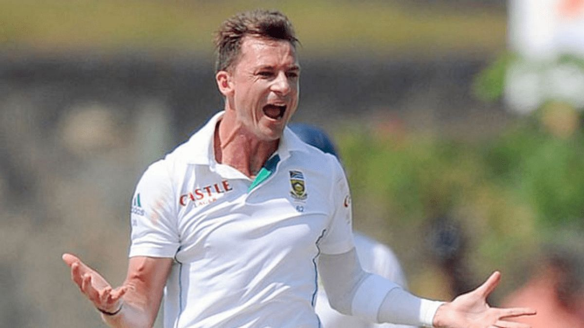 Dale Steyn of South Africa celebrates a wicket.
