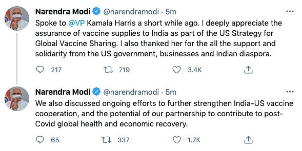 Appreciate Assurance of Vaccine Supply: PM After Call From US VP