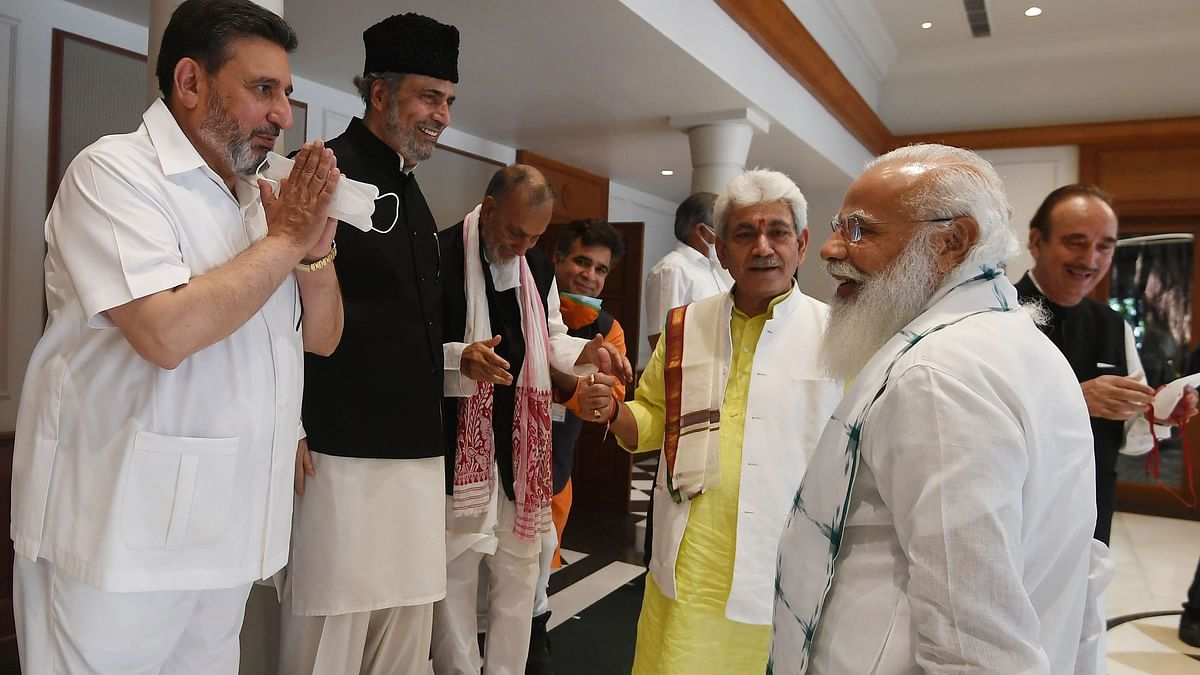 """<div class=""""paragraphs""""><p>The all-party meeting called by Prime Minister Narendra Modi with political leaders of Jammu and Kashmir concluded after more than three hours on Thursday, 24 June.</p></div>"""