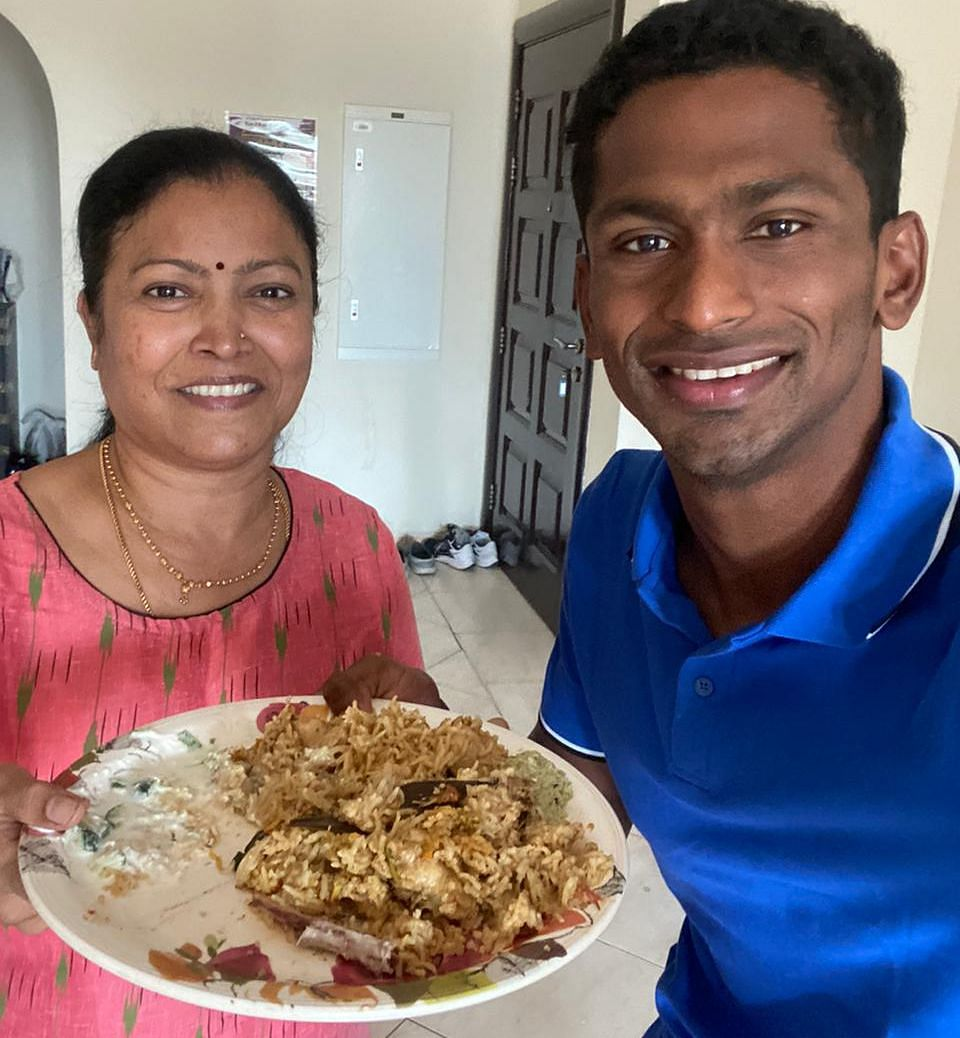 """<div class=""""paragraphs""""><p>'Gowri Aunty' prepared home made biryani for Sajan to celebrate his Tokyo Olympics' qualification.</p></div>"""