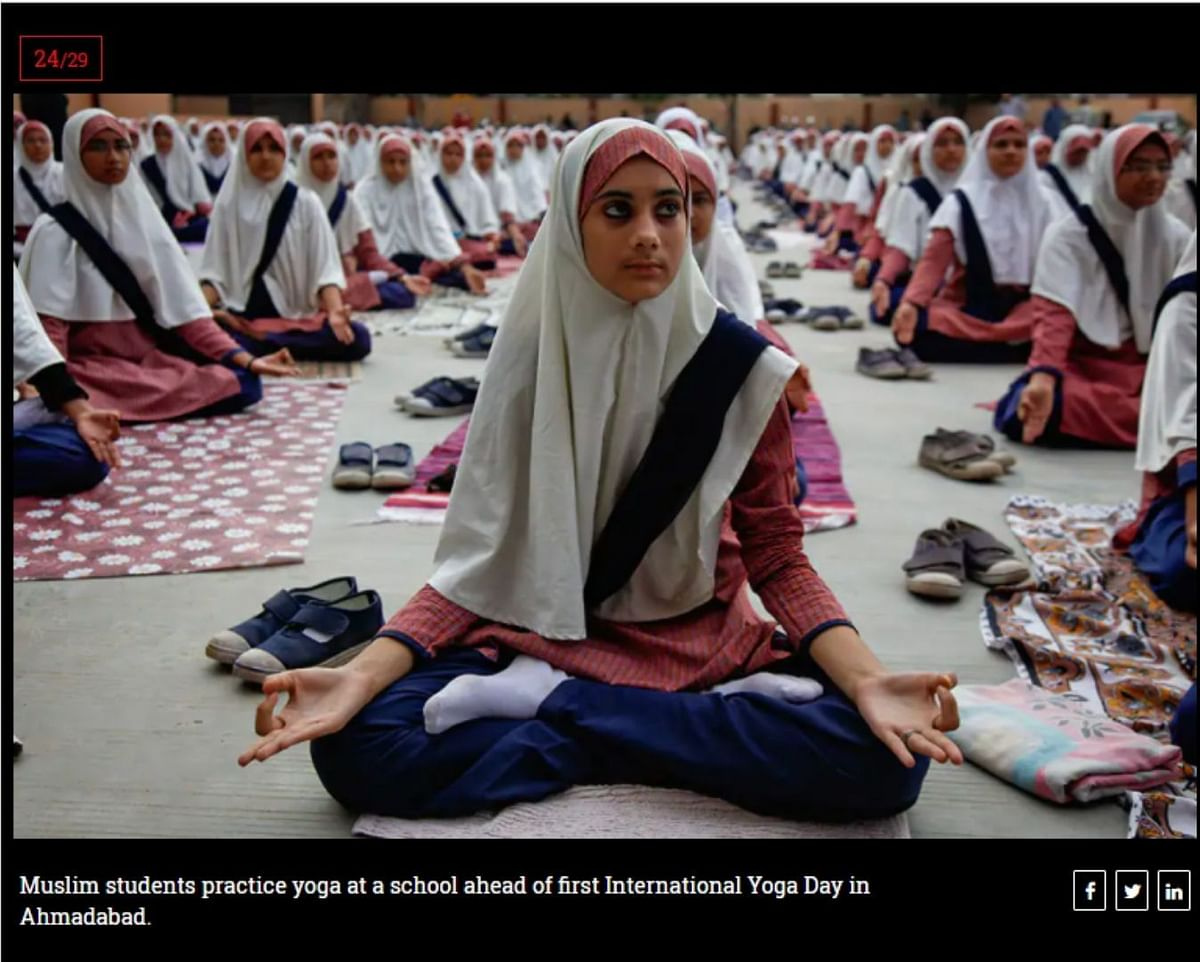 Images From India and Abu Dhabi Shared as 'Yoga in Saudi Arabia'