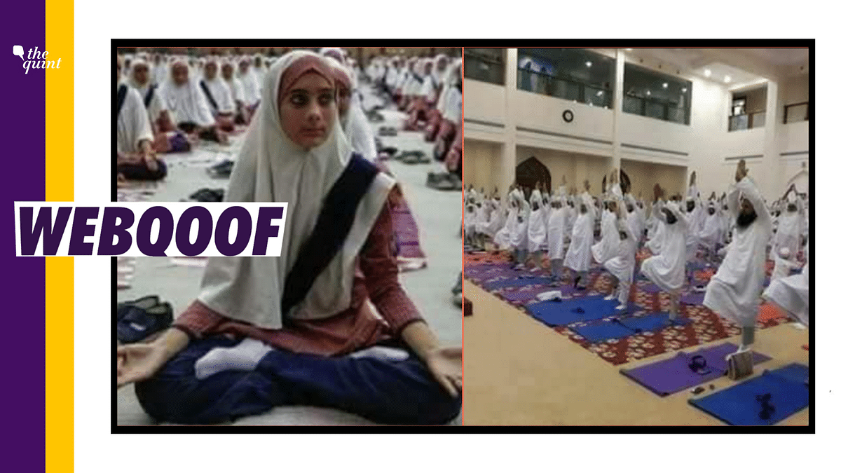 Social media users have claimed that the photographs show Muslims practising yoga in Saudi Arabia.