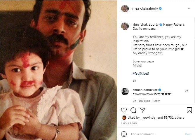 Rhea Chakraborty Shares Father's Day Post: You're My Resilience