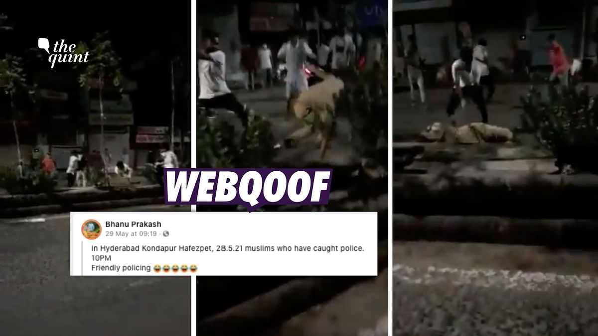 A video from Ahmedabad in Gujarat is being shared on social media with a claim that it shows 'Muslims assaulting cops in Telangana'.