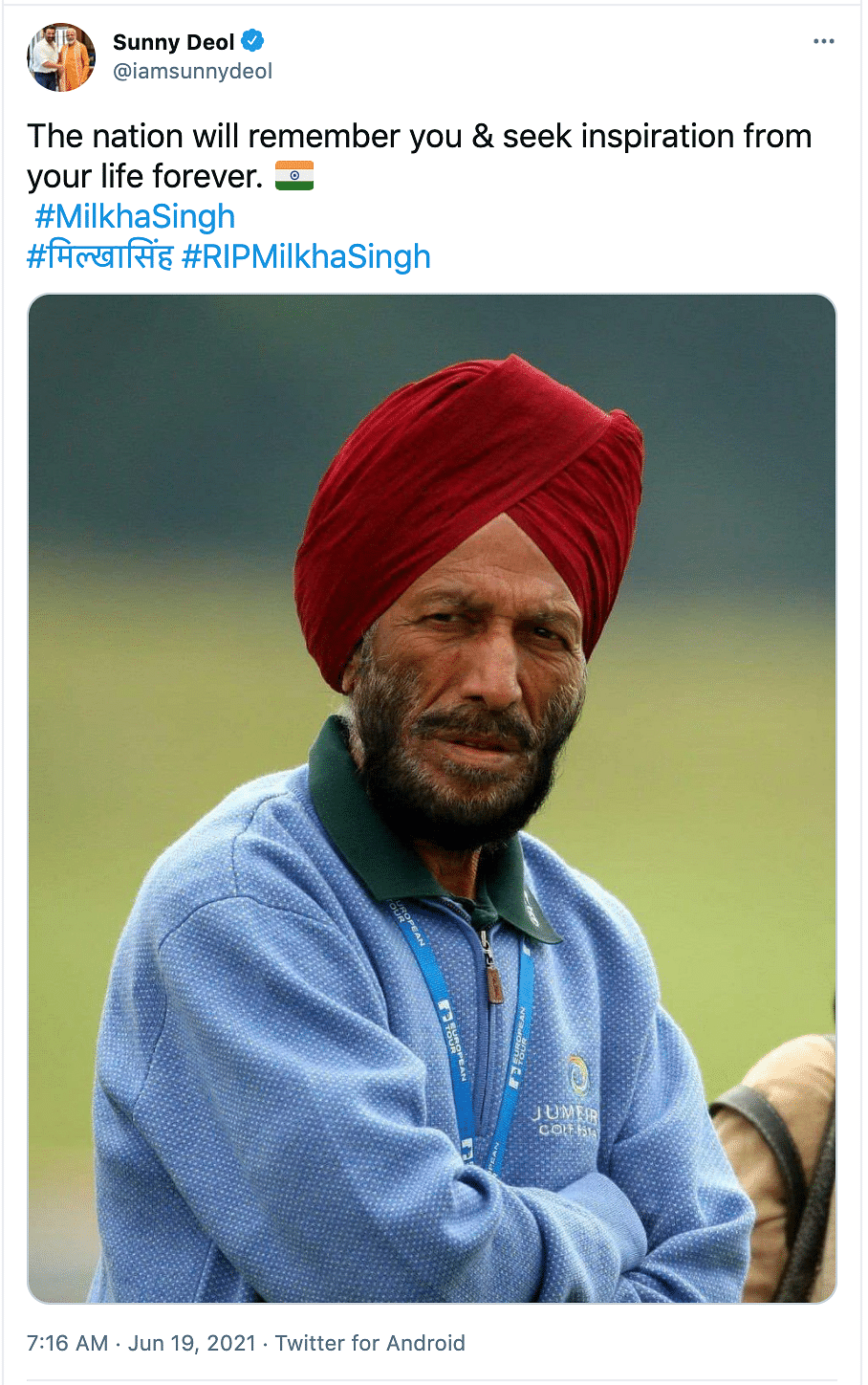 'Have a Golden Run in Heaven': Bollywood Mourns Milkha Singh