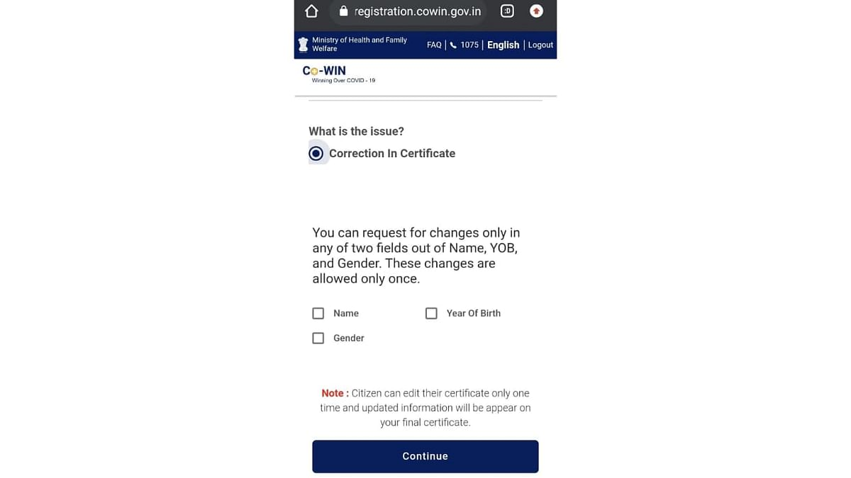 """<div class=""""paragraphs""""><p>Now, under 'Correction in certificate', click on the error that you need to get corrected.</p></div>"""