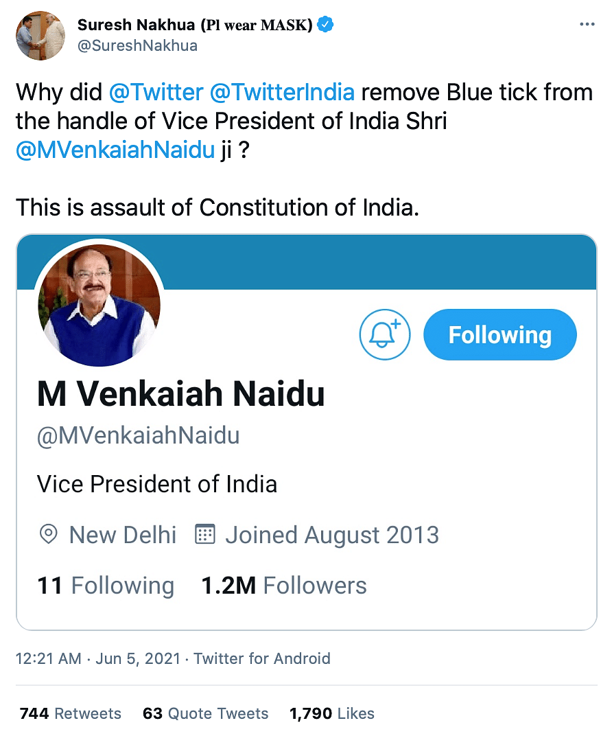 Twitter Drops Blue Tick From VP Naidu's Account, Restores Later