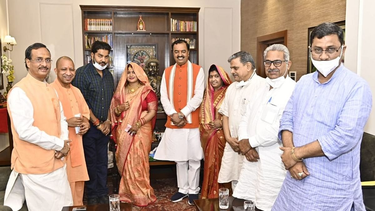 CM Adityanath Visits UP Dy CM Maurya, RSS Leaders Also Present