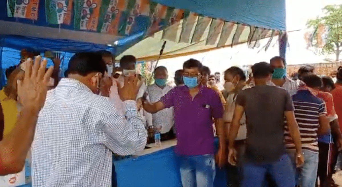 BJP Workers Joining TMC 'Purified' With Sanitiser in WB's Birbhum