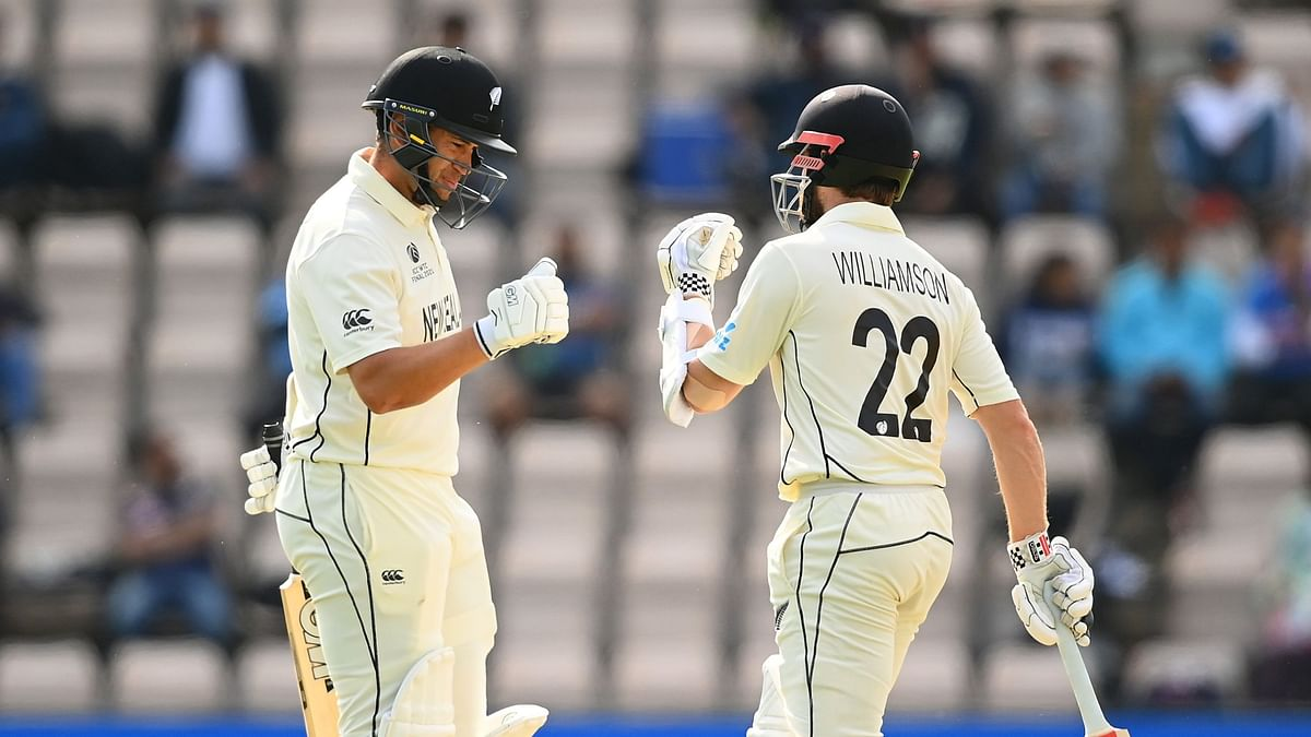Ross Taylor and Kane Williamson share a light moment during their chase against India in the WTC Final.